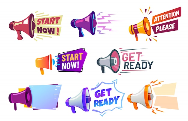Advertising banners with megaphone. get ready badge speaker, attention please and start now banner  set