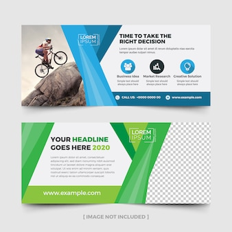 Advertising billboard layout with blue and green accents