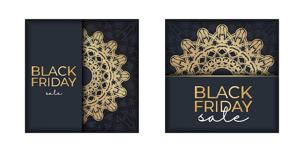 Advertising for black friday sales dark blue with an abstract gold pattern