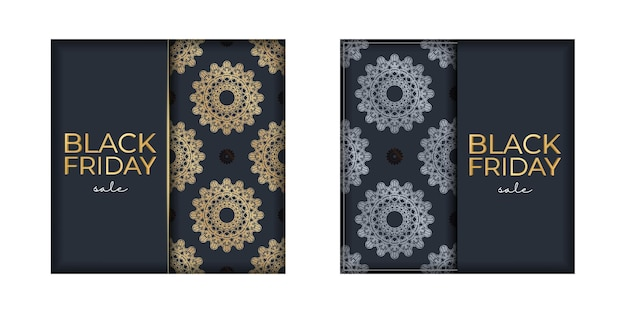 Advertising for black friday sales dark blue with geometric golden ornament