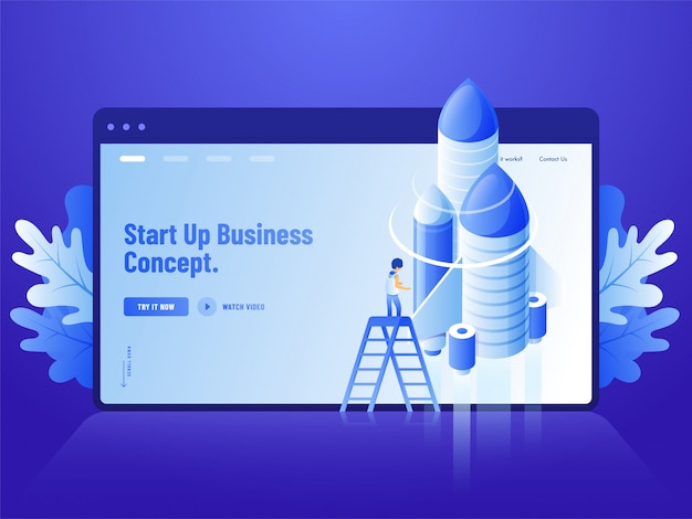 Advertising blue website landing page design, 3d illustration of human standing on ladder with rocket for start up business concept.