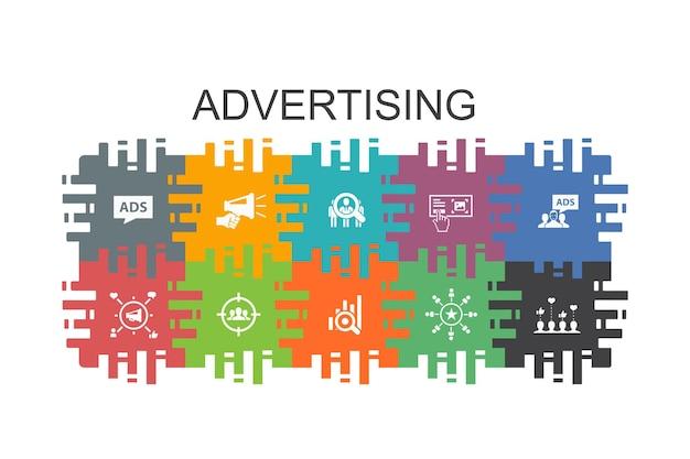 フラットな要素を持つ広告漫画テンプレート。市場調査、プロモーション、ターゲットグループ、ブランド認知度などのアイコンが含まれています