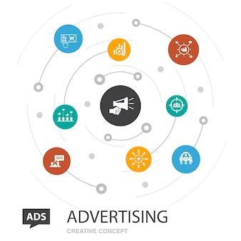 シンプルなアイコンで色付きの円の概念を宣伝します。市場調査、プロモーション、ターゲットグループ、ブランド認知度などの要素が含まれています