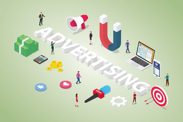 Advertising concept with big word and team people for market product with money and object related with modern isometric style