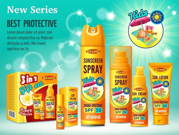 Modello di progettazione pubblicitaria di cosmetici protezione solare.