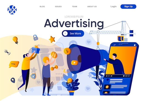 Advertising flat landing page. advertising campaign in social media and mobile applications illustration. announcement and promotion, online marketing web page composition with people character