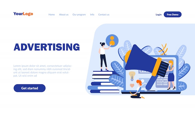 Advertising flat landing page template with header
