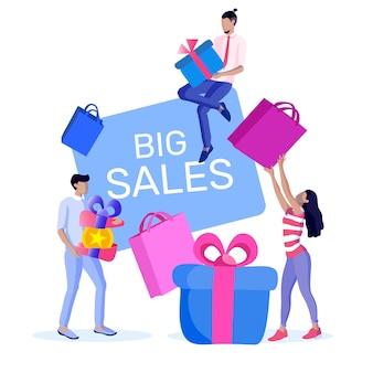 Advertising flyer communication big sales flat.