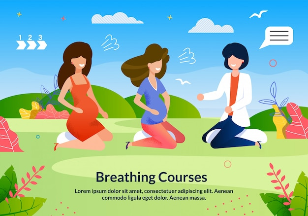 Advertising flyer inscription breathing courses.