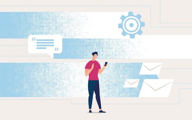 Advertising flyer receiving correspondence online.