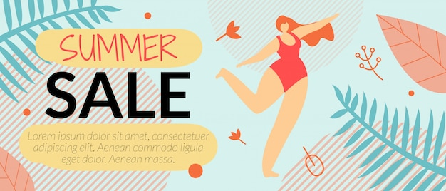 Advertising flyer summer sale banner template vector illustration.