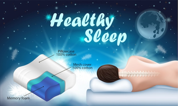 Advertising flyer with inscription healthy sleep.