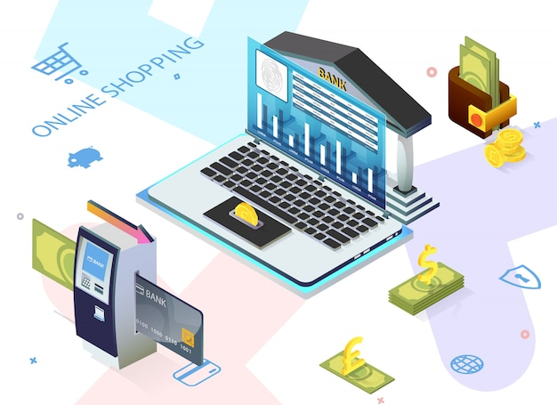 広告チラシ書かれたオンラインショッピング、銀行。