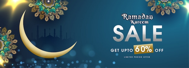 Advertising header or banner template design with illustration of crescent moon