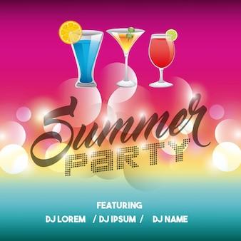 광고 아이콘입니다. 여름 파티와 디스코. 벡터 그래픽