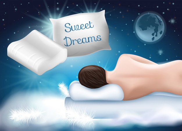 Advertising image with illustration of woman with even spine lying on side and orthopedic pillow. healthy sleep