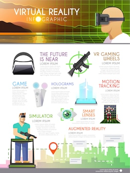 Advertising  infographic on the theme of virtual reality, holograms, video games, augmented reality.