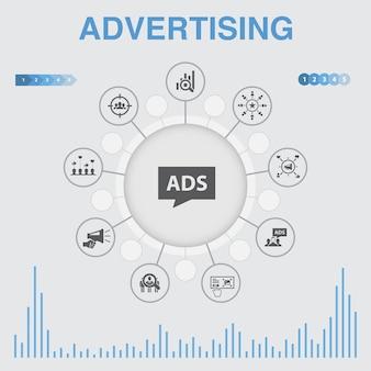 アイコン付きの広告インフォグラフィック。市場調査、プロモーション、ターゲットグループ、ブランド認知度などのアイコンが含まれています