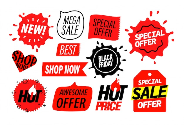 Advertising insignias set, sale banner elements