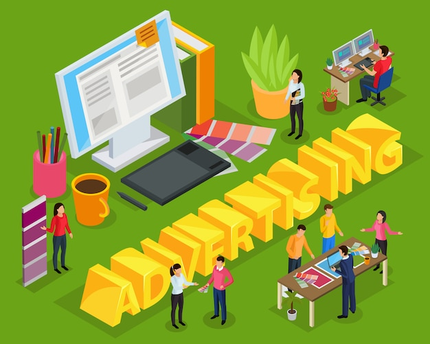 Composizione isometrica pubblicitaria con il personale del posto di lavoro dell'agenzia pubblicitaria del designer