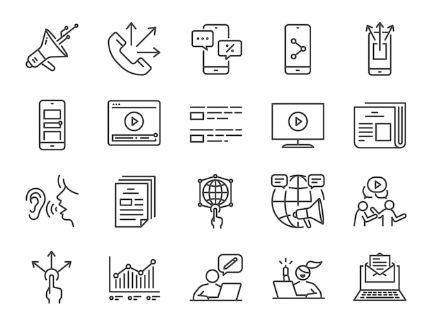 Advertising line icon set.
