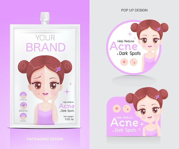 Advertising material for acne packaging