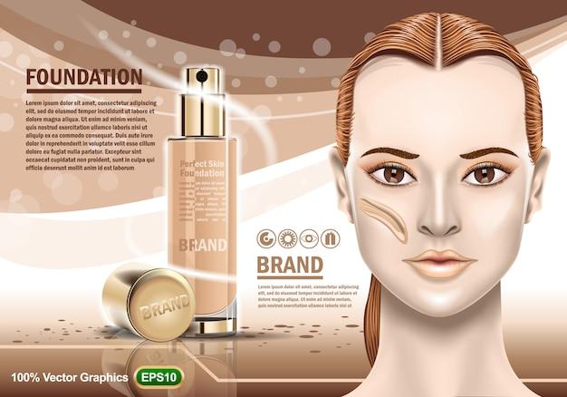 Advertising of moisturizing cosmetic