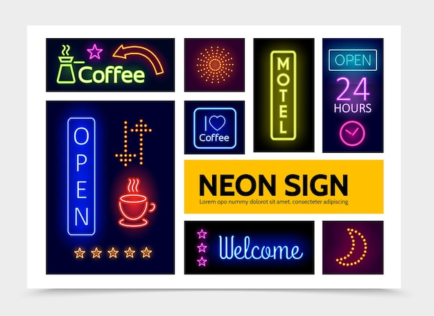Advertising neon signs infographic template with bright colorful frames inscriptions sparkles glowing arrows