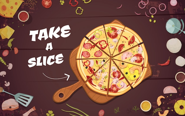 Advertising of pizza with slices on culinary board and ingredients