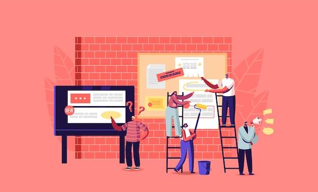 広告配置の概念。シティストリートの男性と女性の特別掲示板に広告とアナウンスが付いた紙のポスターとチラシを貼っている小さなキャラクター。漫画の人々のベクトル図