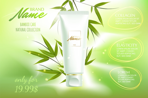 Advertising poster for cosmetic product for catalog, magazine. cosmetic package.moisturizing cream, gel, body lotion with green tea extract .