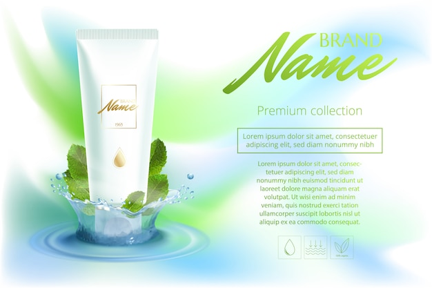 Advertising poster cosmetics shampoo, lotion, shower gel with extract or mint flavor.