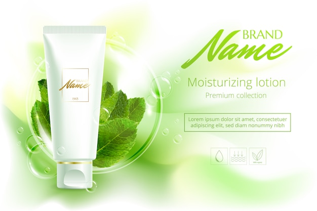 Advertising poster cosmetics shampoo, lotion, shower gel with extract or mint flavor. Premium Vector
