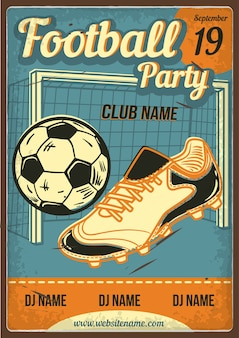 Advertising poster design with illustration of a boot, a ball and a football goal