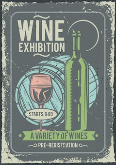 Design poster pubblicitario con illustrazione di una bottiglia di vino e un bicchiere e una botte