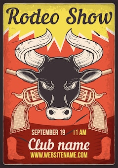 Advertising poster design with illustration of a bull and revolvers