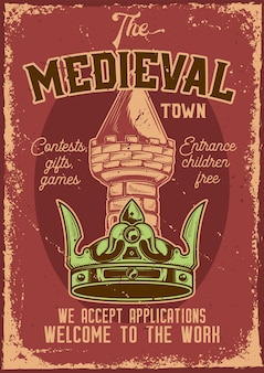 Advertising poster design with illustration of a crown with a tower on background.