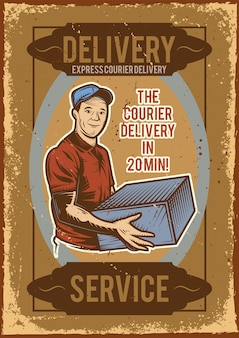 Advertising poster design with illustration of a delivery man