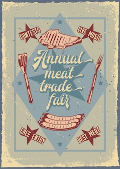 Advertising poster design with illustration of grilled meat