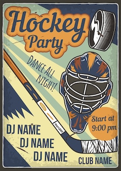 Advertising poster design with illustration of hockey helmet and a club