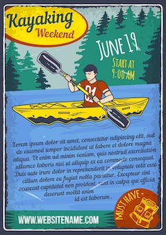 Advertising poster design with illustration of a man in kayak on the water