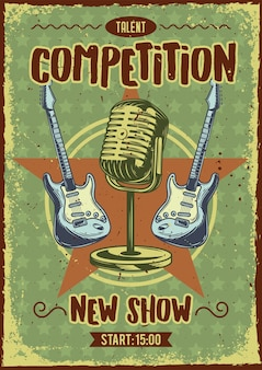 Advertising poster design with illustration of a microphone and guitars