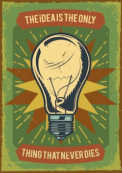 Дизайн рекламного плаката с изображением лампочки