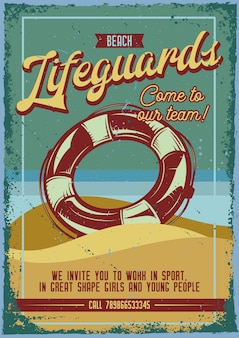 Дизайн рекламного плаката с иллюстрацией спасательного круга