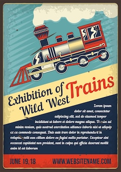 Advertising poster design with illustration of train