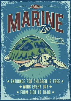 Advertising poster design with illustration of a turtle