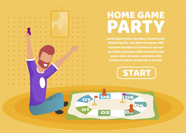 Advertising poster home game party lettering.