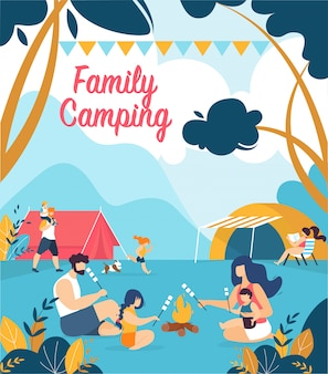 Advertising poster inscription family camping