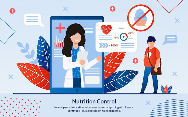 Advertising poster inscription nutrition control.