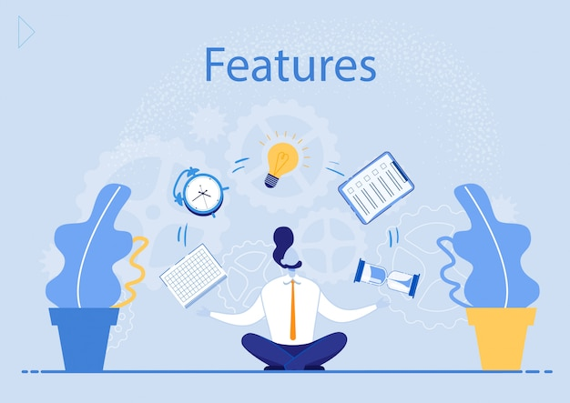 Advertising poster is written features, meditation. skills contribute to development type thinking. office worker sit on floor and looks up at flying objects cartoon.  illustration.